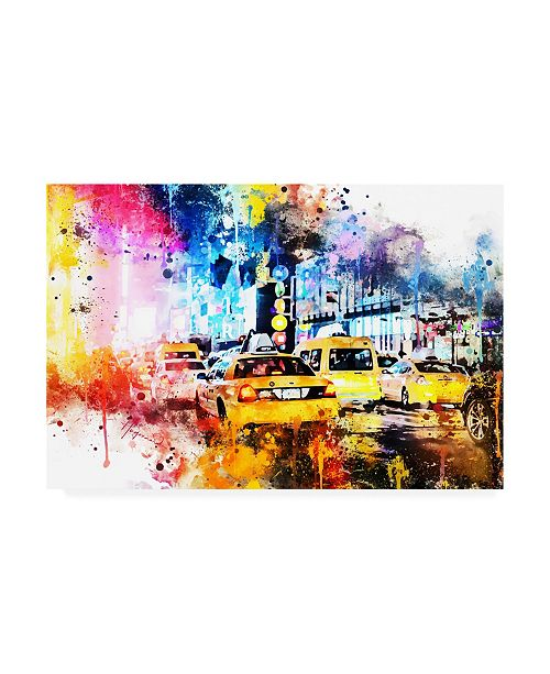 "Trademark Global Philippe Hugonnard NYC Watercolor Collection - Yellow Taxis Canvas Art - 19.5"" x 26"""
