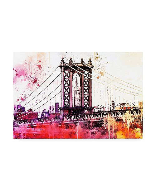 "Trademark Global Philippe Hugonnard NYC Watercolor Collection - the Manhattan Bridge III Canvas Art - 15.5"" x 21"""