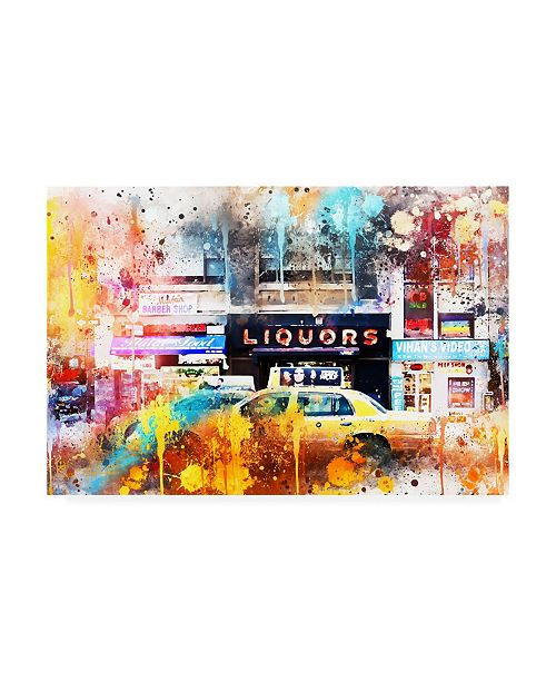 "Trademark Global Philippe Hugonnard NYC Watercolor Collection - Urban Taxi Canvas Art - 15.5"" x 21"""