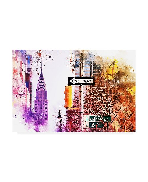 """Trademark Global Philippe Hugonnard NYC Watercolor Collection - Avenue of the Americas Canvas Art - 36.5"""" x 48"""""""