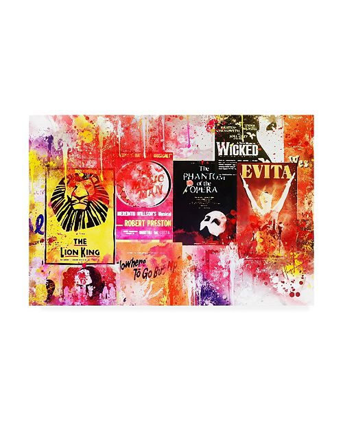 """Trademark Global Philippe Hugonnard NYC Watercolor Collection - Broadway Shows Canvas Art - 19.5"""" x 26"""""""