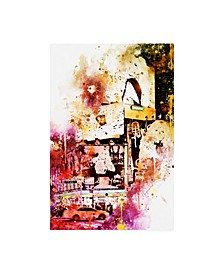 "Philippe Hugonnard NYC Watercolor Collection - Fashion Times Square Canvas Art - 27"" x 33.5"""