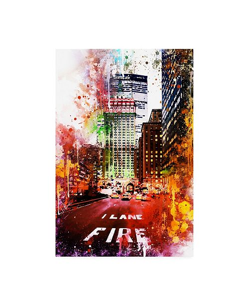 "Trademark Global Philippe Hugonnard NYC Watercolor Collection - Fire Lane Canvas Art - 19.5"" x 26"""