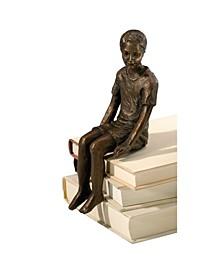 Boy Shelf Sitter Sculpture - Bronze