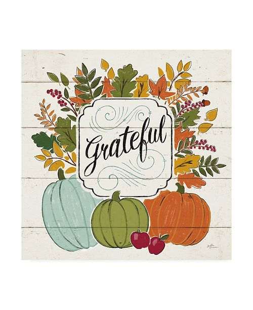 "Trademark Global Janelle Penner Thankful II White Leaves Canvas Art - 15.5"" x 21"""