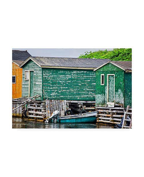 "Trademark Global Chuck Burdic Weathered Boat House Canvas Art - 36.5"" x 48"""