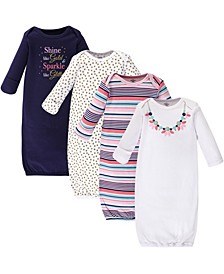 Cotton Gowns, Sparkle Necklace, 4 Pack, 0-6 Months