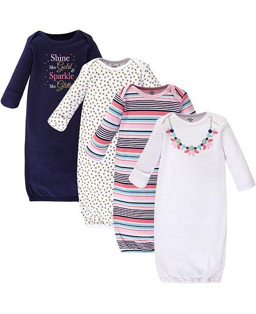 Little Treasure Cotton Gowns, Sparkle Necklace, 4 Pack, 0-6 Months