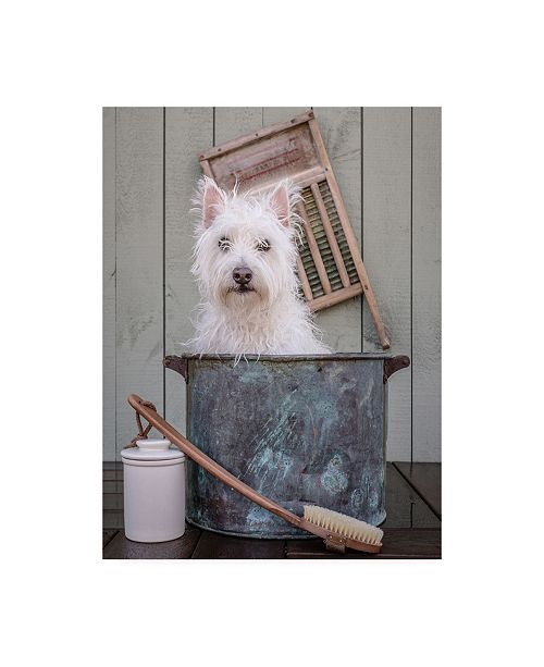 """Trademark Global Edward M. Fieldin Washing the Dog Canvas Art - 15.5"""" x 21"""""""