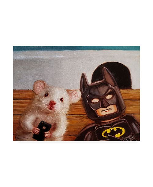 "Trademark Global Lucia Hefferna Selfie with Batman Canvas Art - 36.5"" x 48"""