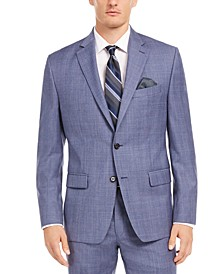 Men's Classic-Fit UltraFlex Stretch Light Blue Check Suit Separate Jacket