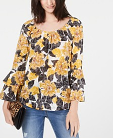 I.N.C. Tiered-Sleeve Peasant Top, Created for Macy's