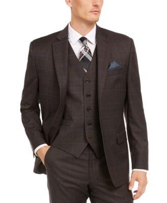Men's Classic-Fit UltraFlex Stretch Brown/Blue Windowpane Suit Separate Jacket