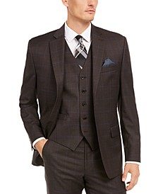 Men's Classic-Fit UltraFlex Stretch Brown/Blue Windowpane Suit Separate Jacket