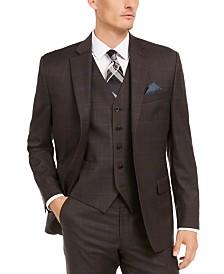 Lauren Ralph Lauren Men's Classic-Fit UltraFlex Stretch Brown/Blue Windowpane Suit Separate Jacket