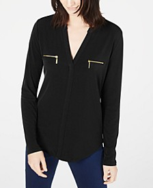 INC Plus Size Zip-Pocket Blouse, Created for Macy's