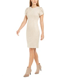 Calvin Klein Faux-Suede Tulip Sheath Dress