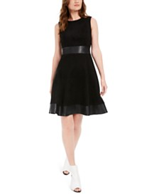 Calvin Klein Petite Faux-Leather-Trim Fit & Flare Dress
