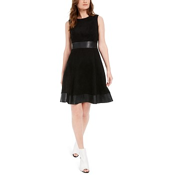 Calvin Klein Faux-Suede & Faux-Leather Fit & Flare Dress