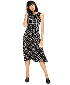Plaid Fit & Flare Midi Dress