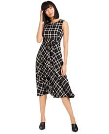 Calvin Klein Plaid Fit & Flare Midi Dress