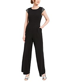 Beaded-Shoulder Jumpsuit