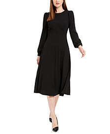 Puff-Sleeve Midi Dress
