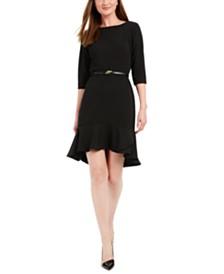 Calvin Klein Petite Belted Flounce-Hem Dress