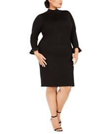 Calvin Klein Plus Size Studded-Cuff Sweater Dress