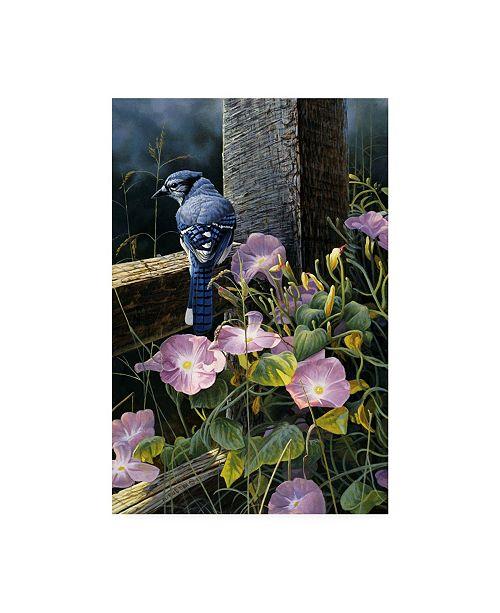 "Trademark Global Michael Budden Morning Glories Blue Jay Canvas Art - 20"" x 25"""