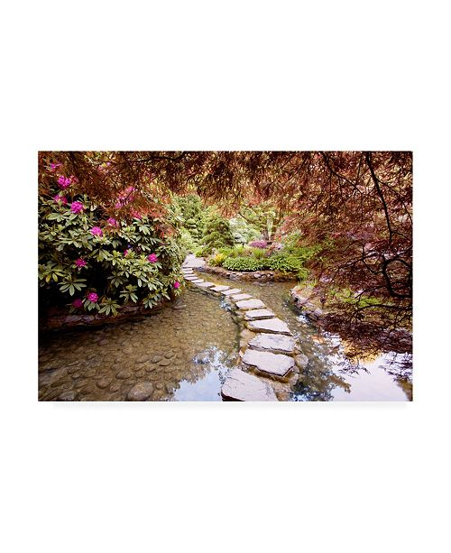 "Trademark Global Monte Nagler Stepping Stones at Butchart Gardens Victoria B.C. Canvas Art - 15"" x 20"""