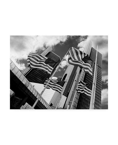 "Trademark Global Monte Nagler Renaissance Center and Flags Detroit Michigan Canvas Art - 20"" x 25"""