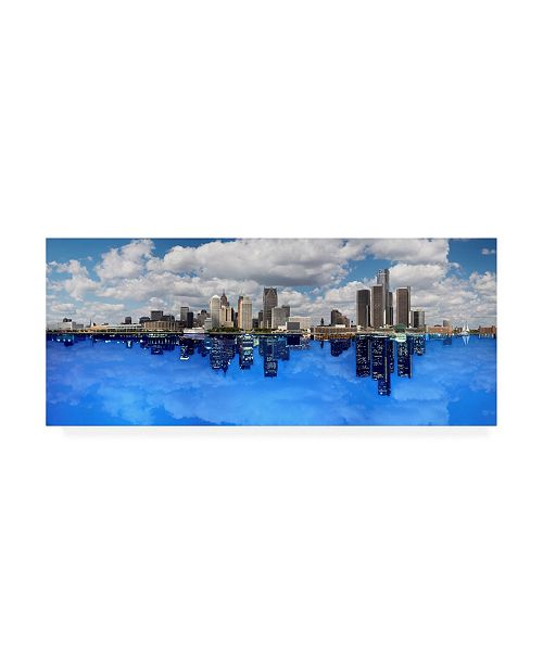 """Trademark Global Monte Nagler Detroit Day and Night Detroit Michigan Color Pan Canvas Art - 15"""" x 20"""""""