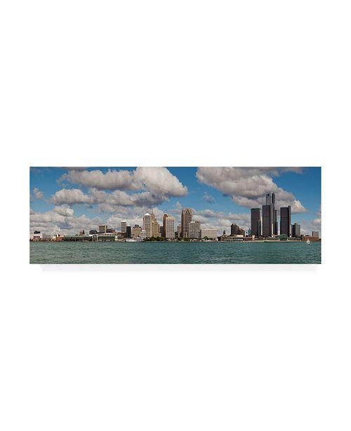 "Trademark Global Monte Nagler Detroit Skyline Panorama 2 Canvas Art - 37"" x 49"""