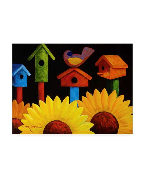 "Trademark Global Oscar Ortiz Midnight Garden Birdhouse Canvas Art - 36.5"" x 48"""