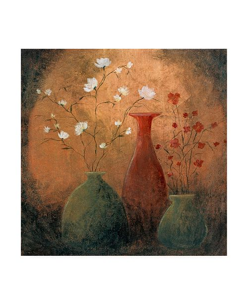 "Trademark Global Pablo Esteban Flowers in Vases Distressed Canvas Art - 15.5"" x 21"""