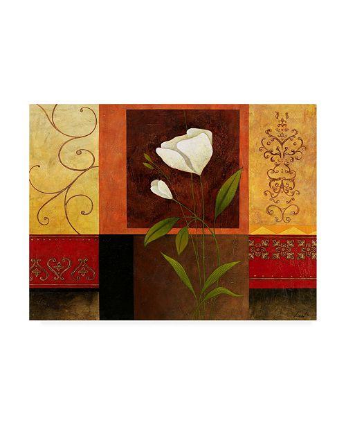 "Trademark Global Pablo Esteban White Flowers Ornate Red Canvas Art - 36.5"" x 48"""