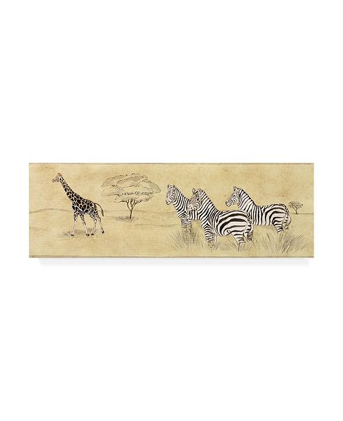 "Trademark Global Pablo Esteban Zebras Next to Giraffe Canvas Art - 19.5"" x 26"""