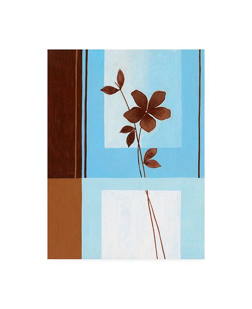 "Trademark Global Pablo Esteban Brown Flower, Blue Square Left Canvas Art - 15.5"" x 21"""
