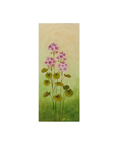 "Trademark Global Pablo Esteban Flowers Over Green Gradient 3 Canvas Art - 19.5"" x 26"""