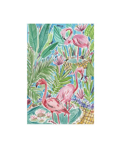 "Trademark Global Melissa Wang Flamingo Paradise I Canvas Art - 19.5"" x 26"""