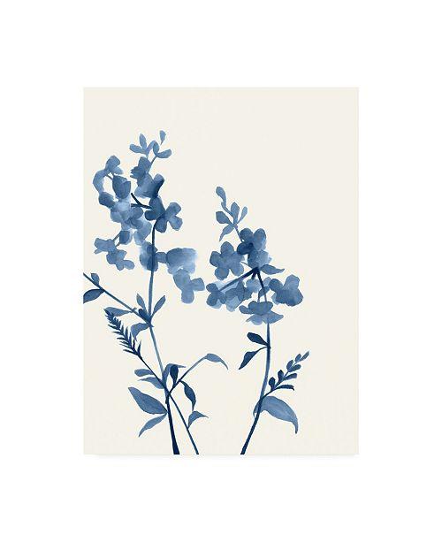 "Trademark Global Jennifer Goldberger Indigo Wildflowers IV Canvas Art - 19.5"" x 26"""