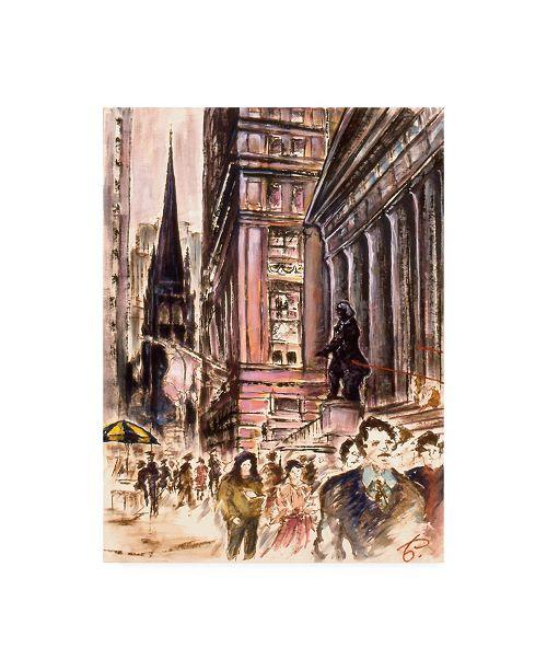 """Trademark Global Peter Potter New York Wall Street Canvas Art - 15.5"""" x 21"""""""