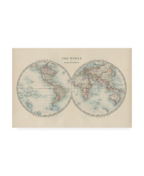 "Trademark Global Johnston Johnstons World in Hemispheres Canvas Art - 19.5"" x 26"""