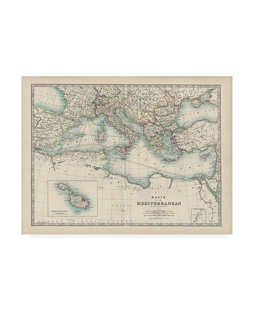 "Trademark Global Johnston Johnstons Map of the Mediterranean Canvas Art - 19.5"" x 26"""