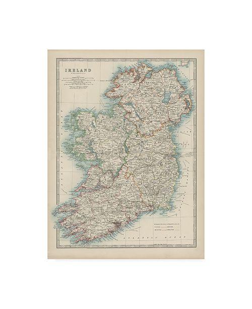 "Trademark Global Johnston Johnstons Map of Ireland Canvas Art - 19.5"" x 26"""
