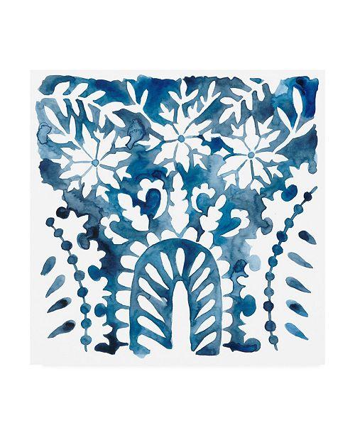 "Trademark Global Chariklia Zarris Indigo Ornament VIII Canvas Art - 15.5"" x 21"""