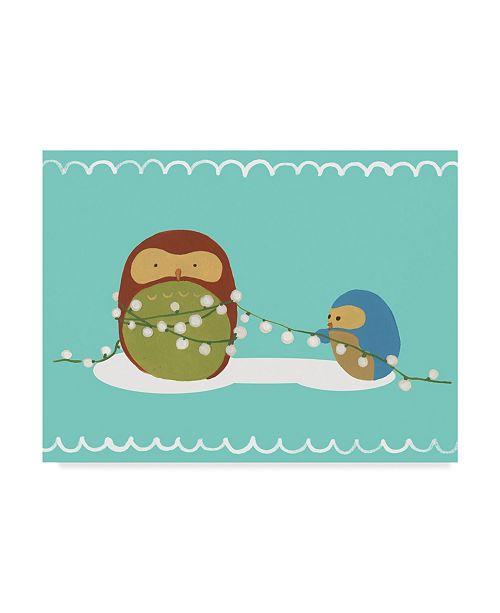 "Trademark Global June Erica Vess Happy Owlidays VII Canvas Art - 20"" x 25"""