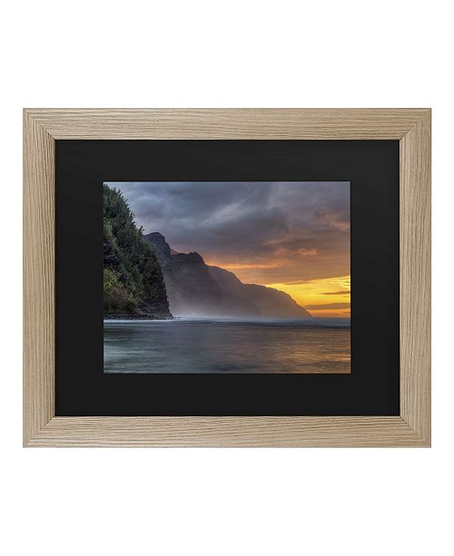 "Trademark Global Pierre Leclerc Napali Sunset Kauai Matted Framed Art - 27"" x 33"""
