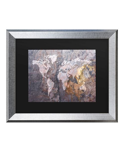 "Trademark Global Michael Tompsett World Map - Rock Matted Framed Art - 20"" x 25"""